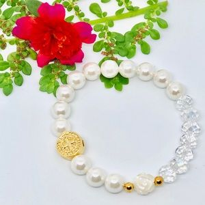 Jewelry - St Benedict Medal Bracelet with White Glass Pearl